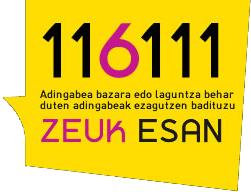 Zeuk esan - 116111 - Haurrei eta nerabeei laguntzako telefonoa - Eusko Jaurlaritza